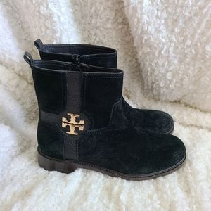 Tory Burch Alaina Black Suede Leather Ankle Boots sz 8